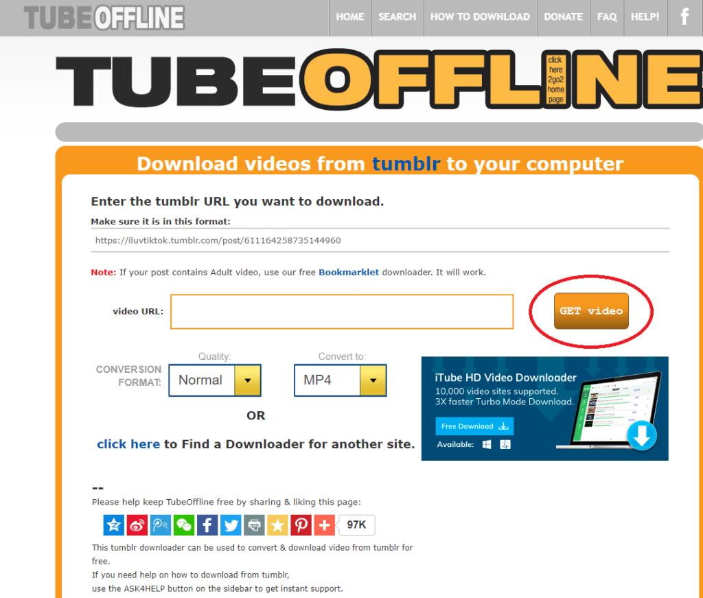 TubeOffline輕輕鬆鬆2個步驟下載Tumblr影片