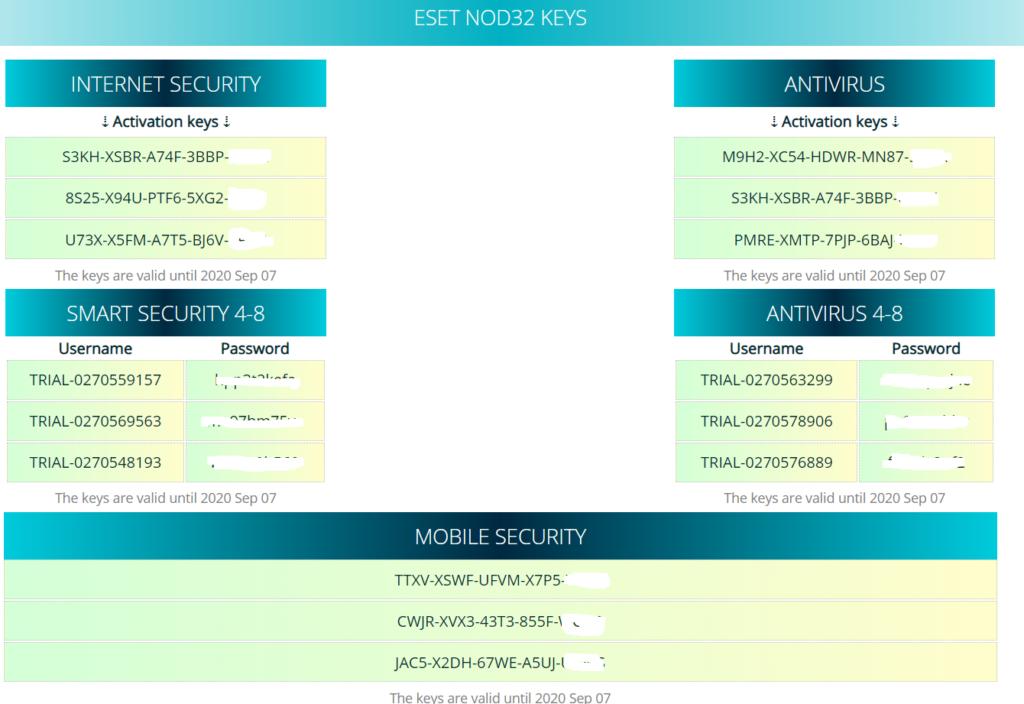 ESET NOD32 Key 金鑰序號激活碼分享網站大集合 2020年