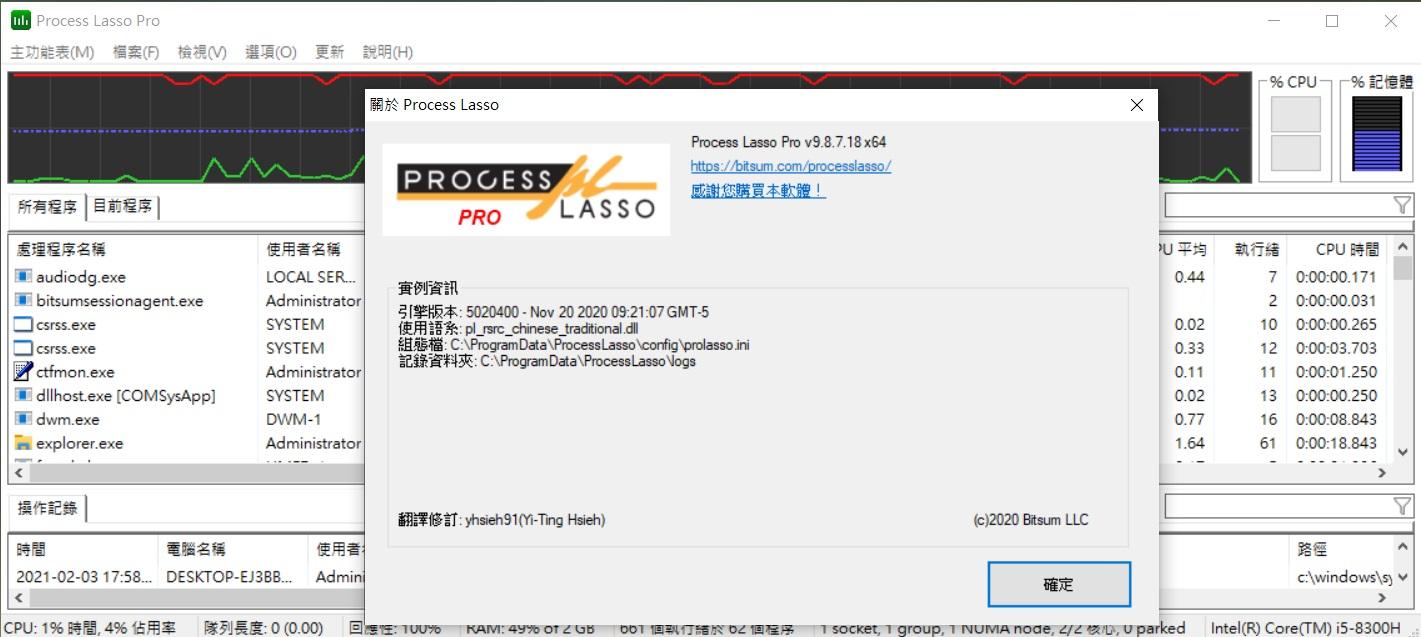 Process Lasso Pro 工作管理員破解版2021